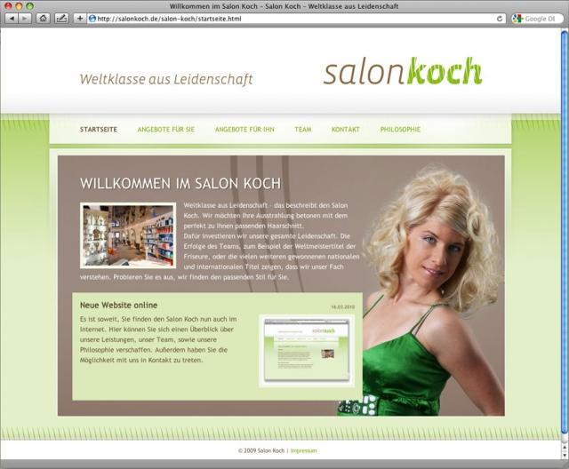 Willkommen im salon koch salon koch weltklasse aus for Koch website